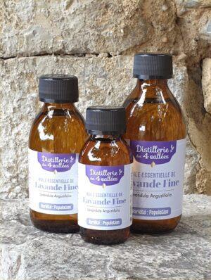 Flacons d'huiles essentielle de lavande fine de 90, 150 et 250 ml