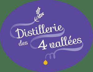 Logo de la distillerie des 4 Vallées, couleur lavande avec la goutte d'huile essentielle
