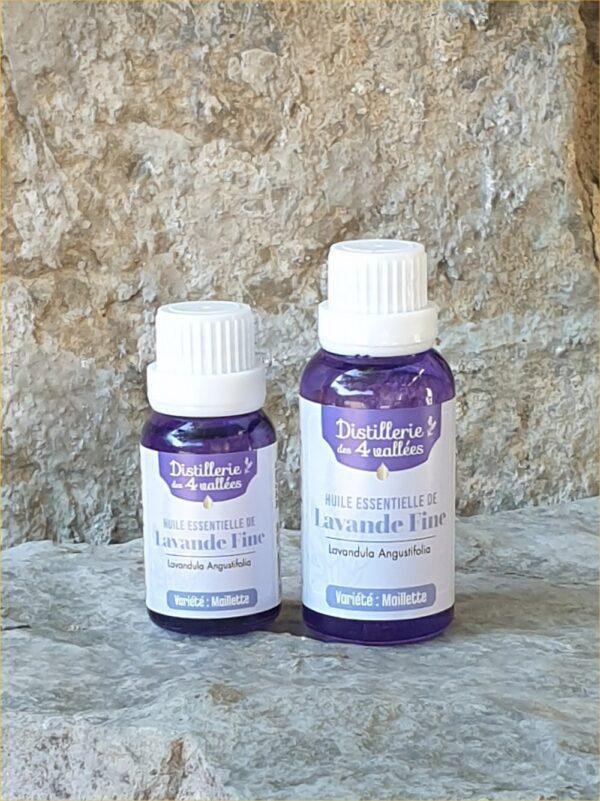2 flacons d'huile essentielle de lavande fine variété Maillette de15 et 30 ml.